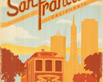 San Francisco Trolley Vintage Art Print