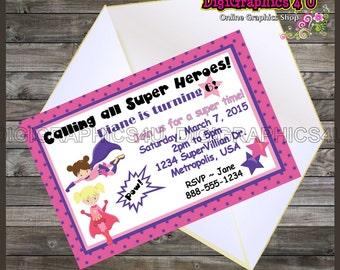 Printable Girls Superheroes Kids Birthday Invitation Printable Digital File