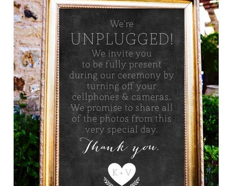 Chalkboard Personalized Unplugged Wedding Sign, Wedding Unplugged Poster, Custom Unplugged Wedding Board, No cell phones Wedding Poster