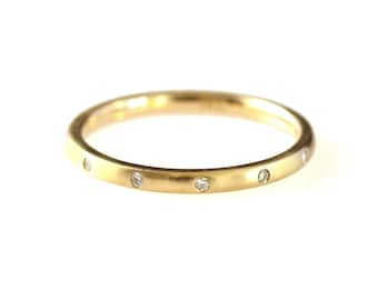 Burnished Diamond Band with Brushed Finish in 14kt gold