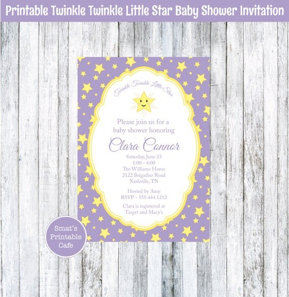 twinkle twinkle little star printable baby shower invite gender