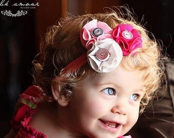MANY COLORS AVAILABLE Rolled Fabric Flower Headband for Infants,Toddlers and Girls. Four Color Combinations, Photo Prop, Fabric Headbands