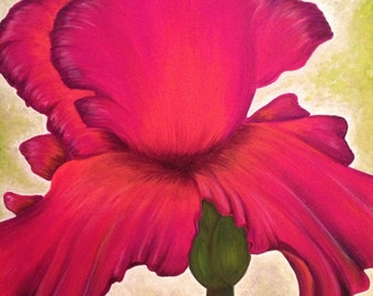 Large Flower Painting in Pink, Acrylic on Canvas, Ready to Hang