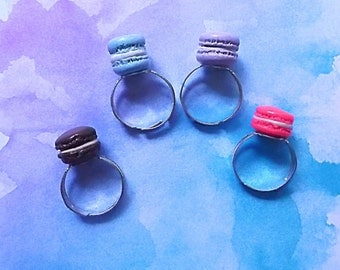 French Macaron Rings - Miniature Food Jewelry- Macaroon Rings-Kawaii Rings-Macaron Jewelry - Fairy Kei Rings