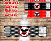 DIY Boy Mouse Happy Birthday Water Bottle Labels Instant Download