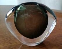 Mid Century Modern Orrefors Cased Glass Vase Nils Landberg Sweden Smoke Gray 50s
