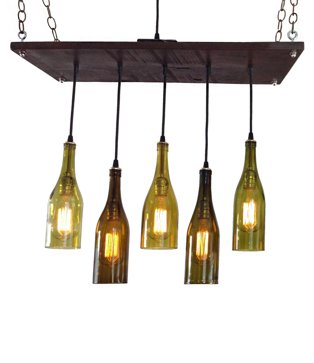 5 recycled wine bottle pendant chandelier by. Black Bedroom Furniture Sets. Home Design Ideas