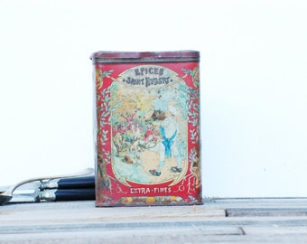 French vintage tin box French charming  decorated metal box with spices Saint Hubert, brocante française