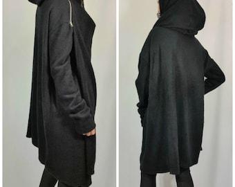 Black Asymmetric Hooded Coat Loose Extravagant Cape Coat Long Sleeve Oversize Spring Jacket for Women Fine Knit Vest/ MD10036