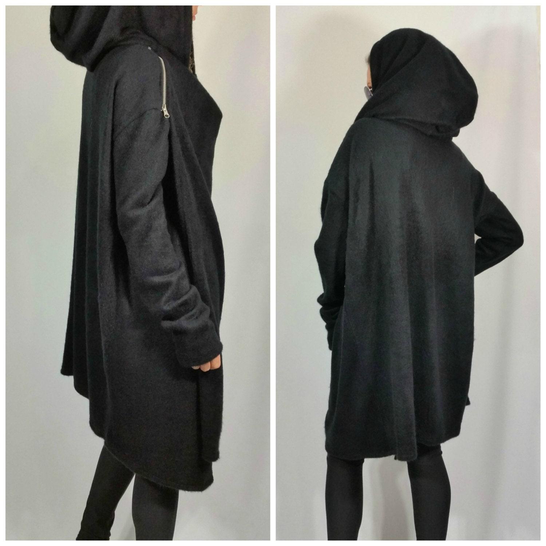Black Asymmetric Hooded Coat Loose Extravagant Cape Coat Long