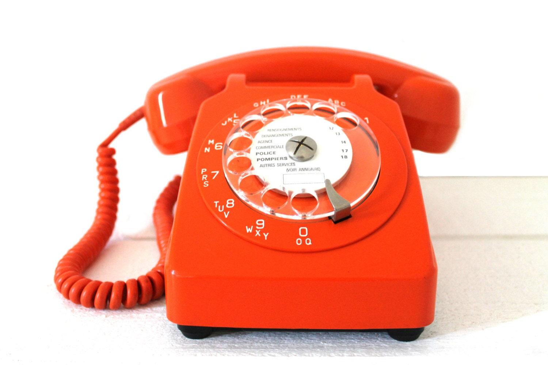 original vintage french orange phone from 70 39 s by monsieurlouis. Black Bedroom Furniture Sets. Home Design Ideas