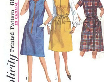 1965 Vintage One-Piece Dress or Jumper Sewing Pattern - Simplicity 6095