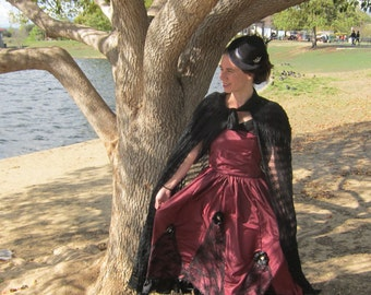 Burgandy Victorian day dress, Adult 4/5