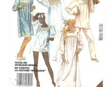 Vintage BABYDOLL Nightgown PAJAMAS Lingerie Sewing Pattern ~ Top Pants Shorts ~ Long and Short Gown ~ McCalls 2193 ~ Miss Size 14 Bust 36