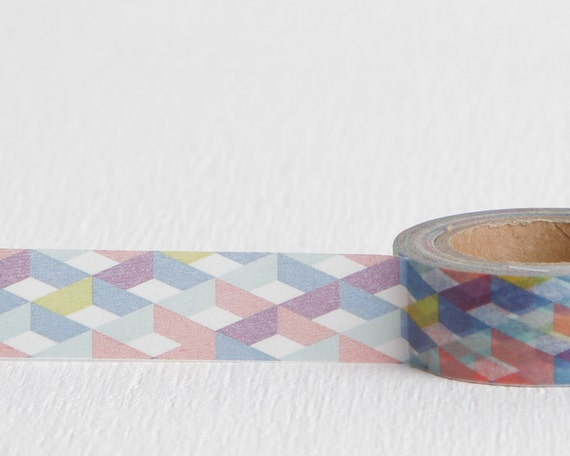 Geometric 3d diamond grid washi tape grid purple pink blue for Geometric washi tape designs