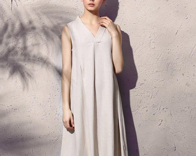 Women long dress - Sleeveless Dress - V Neck - A shape - Stitched collar - Summer dress - Linen dress - Made to order