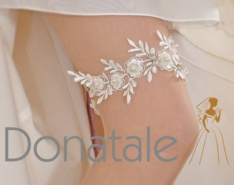 OLIVIA  - Bridal garter Wedding garter  Bride garter Ivory lace garter Beaded floral garter