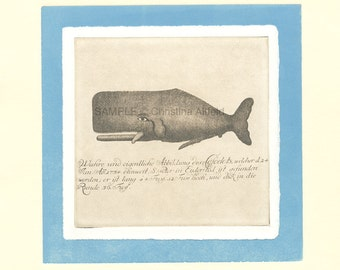 "WHALE,  8"" x 8"" Art Print on 80lb fine art paper from handprinted intaglio etching and monoprint"