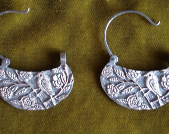 Bird and Camelias Hoop Earrings Patinated Sterling Silver