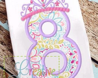 Princess Crown Birthday  Number 8 Machine Embroidery Applique Design 4 Sizes