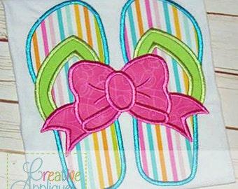 Flip Flops Bow Digital Machine Embroidery Applique Design 4 sizes