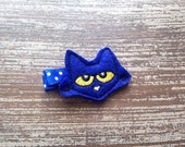 Pete the Cat Hair Clip - Pete the Cat Hair Bow - Pete the Cat Birthday - Felt Hair Clip - Cat Hair Clip - Party Favor - Storybook