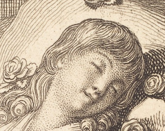Dreaming On Roses, German Master Etching Print