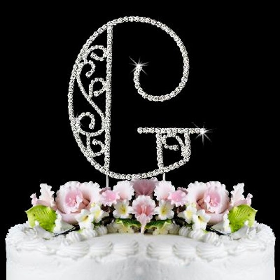 items similar to beautiful crystal rhinestone silver letter  u0026quot g u0026quot  monogram wedding  anniversary