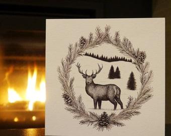 Winter Wonderland Stag Christmas Card