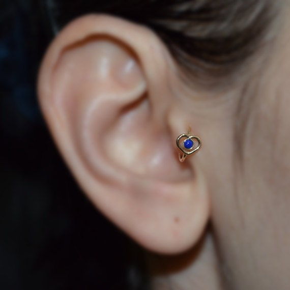 Gold Heart Tragus Earring 2mm Lapis - Rook Earring - Nose Ring Stud - Cartilage Earring - Daith Piercing - Helix Jewelry - Septum Piercing