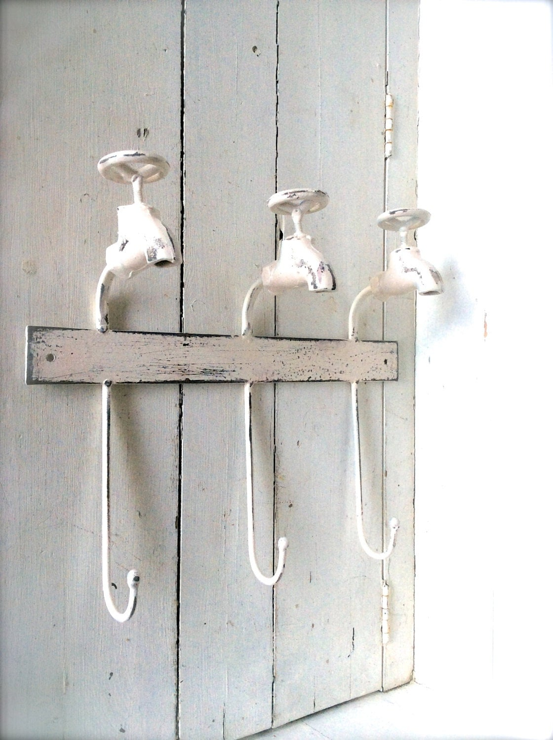 Shabby chic bathroom decor towel hook towel by honeywoodhome for Bathroom decor etsy