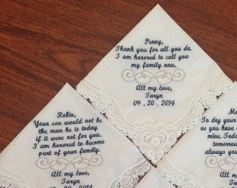 Personalized Laced Handkerchiefs set of four 4