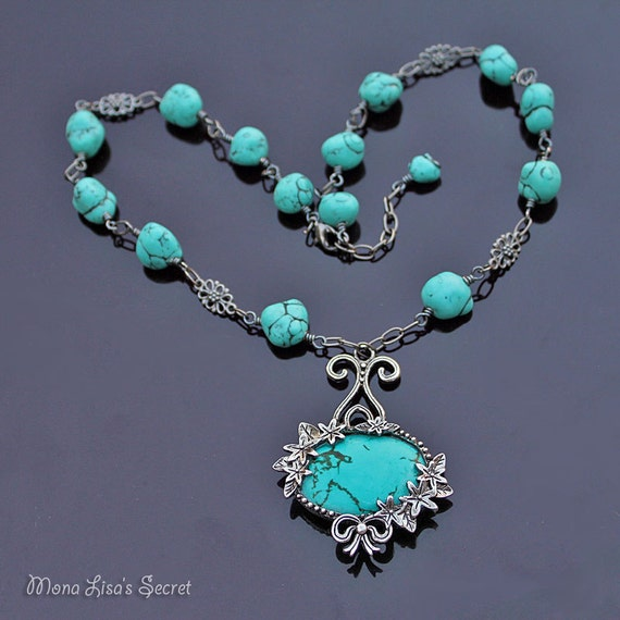 turquoise gunmetal necklace turquoise howlite jewelry
