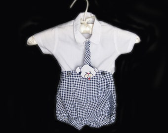 Vintage Retro Baby Boy Outfit Shirt and Shorts 2 Piece Set Spring Summer Photo Prop | Size 6-9 Months