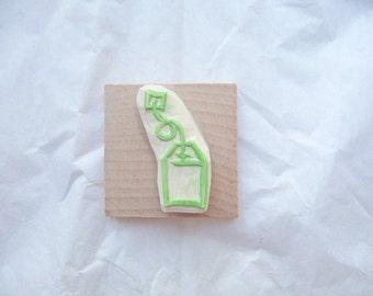 Tea bag hand carved rubber stamp