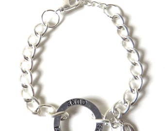 Lime Green Lymphoma Hope Love Cure Awareness Bracelet YOU Choose Bracelet Length