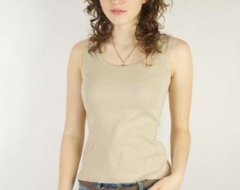 Beige Betty Barclay Tank Top Everyday Cotton Sleeveless Shirt Small Size