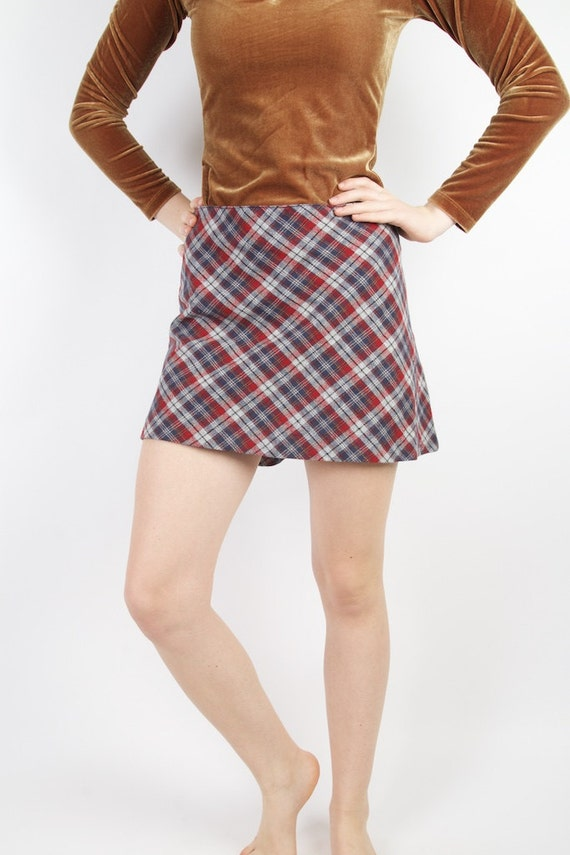 tartan plaid mini skirt blue grey checkered skirt back to