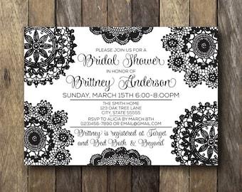 Black and White Bridal Shower Invitation - Printable Shower Invite - Black and White Bridal Shower - Bridal Shower Invitation - Printable
