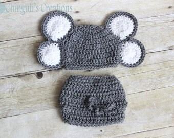 Crochet Baby Elephant Baby Boy Baby Girl Elephant Gray White Elephant Hat Newborn Elephant hat Diaper Cover