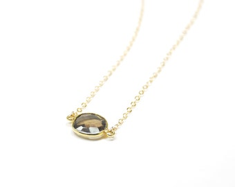 Smoky Quartz Bezel Necklace | 14K Gold Filled | Minimalist | Dainty | Limited | Modern | Perfect for Gift Giving | Jewelry
