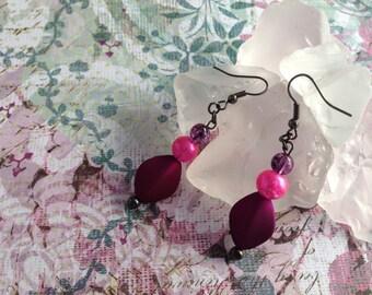 Fuchsia and Pink Dangle Earrings