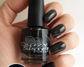 Deep Space-Sparkling Black holographic Glitter Nail Polish *Added Scent Optional*