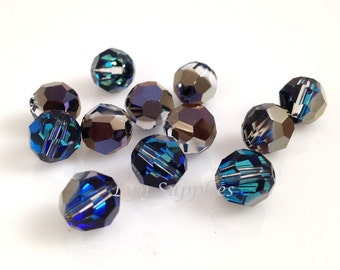 5000 BERMUDA BLUE 8mm Swarovski Crystal Faceted Round Beads Special Effects, 12 pieces or 48 pieces, Rare