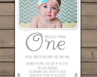 First Birthday Invitation with Picture 1st Birthday Invitation Birthday Girl or boy invite chalkboard white Pencil One Digital PRINTABLE