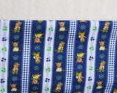 Сotton clover kids fabric funy animal little beavers indigo blue and white stripes kids dress fabric