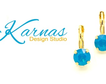CARIBBEAN BLUE OPAL 8mm Crystal Chaton Drop Earrings Swarovski Elements *Pick Your Finish *Karnas Design Studio *Free Shipping*