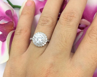 0.58CTW Double Diamond Halo Engagement Semi Mount in 14K White Gold