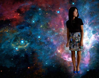Geometric Print High Waist Mini Skirt
