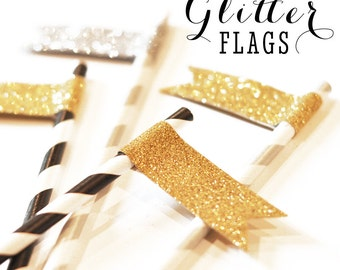 Glitter Drink Stirrers - Gold Glitter Party Decor - Bridal Shower Drink Tags - Mason Jar Wedding Drink Flags -  (EB3081) set of 24 flags